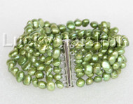 "8"" 8mm 6row Baroque green FW pearls bracelet magnet clasp j11134"