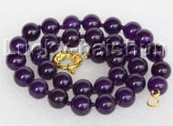 "18"" 12mm round purple jade bead necklace gold plated clasp j11137"