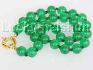 "18"" 12mm round green jade bead necklace gold plated clasp j11138"