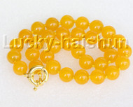 "18"" 12mm round yellow jade bead necklace gold plated clasp j11139"