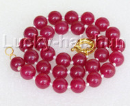 "18"" 12mm round red jade bead necklace gold plated clasp j11140"