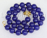 "18"" 12mm round blue jade bead necklace gold plated clasp j11141"