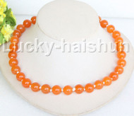 "18"" 12mm round apricot jade bead necklace gold plated clasp j11142"