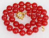 "18"" 12mm round red jade bead necklace gold plated clasp j11143"