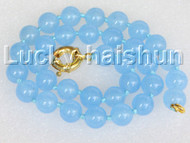 "18"" 12mm round light blue jade bead necklace gold plated clasp j11144"