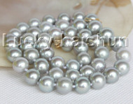 "17"" luster Natural 10mm peacock gray round pearls necklace 14K gold clasp j11159"