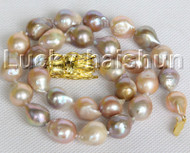 "NEW Baroque 18"" 15mm pink purple Reborn keshi pearls necklace j11161"