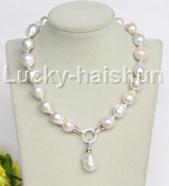 "NEW stylish Baroque 17"" 25mm white Reborn keshi pearls necklace 18KGP j11162"