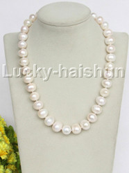 "19"" luster Natural 14mm white pearls necklace 18KGP clasp j11165"