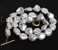 "luster 17"" 14mm white Reborn keshi pearls necklace gold plated clasp j11181"