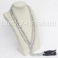 """length 60"""" 10mm gray freshwater pearls necklace j11182"""