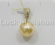 GENUINE 14.33MM ROUND GOLDEN YELLOW SOUTH SEA PEARL NECKLACE PENDANT 14K GOLD j11186