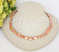 "16"" 12mm coin fastener dark champagne pearls necklace filled gold clasp j11203"