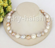 "Baroque 18"" 18mm white pink purple Reborn keshi pearls necklace j11213"