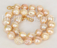 "Baroque 18"" 17mm pink Reborn keshi pearls necklace gold plated clasp j11214"