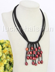 "16""-18"" 5row 13mm Baroque wine red freshwater pearls Black leather necklace j11221"