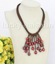 "16"" 5row 13mm Baroque wine red freshwater pearls coffee leather necklace j11224"