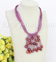 "16"" 5row 13mm Baroque wine red freshwater pearls purple leather necklace j11233"