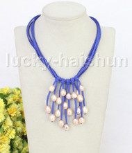"16"" 5row 13mm Baroque pink freshwater pearls blue leather necklace j11238"