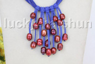 "16"" 5row 13mm Baroque wine red freshwater pearls blue leather necklace j11239"
