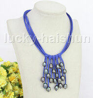 "16"" 5row 13mm Baroque black freshwater pearls blue leather necklace j11240"