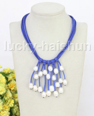 "16"" 5row 13mm Baroque white freshwater pearls blue leather necklace j11241"