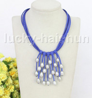 """16"""" 5row 13mm Baroque gray freshwater pearls blue leather necklace j11242"""