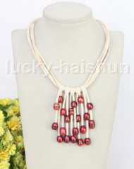 "16"" 5row 13mm Baroque wine red freshwater pearls white leather necklace j11243"