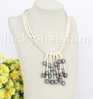 """16"""" 5row 13mm Baroque black freshwater pearls white leather necklace j11246"""