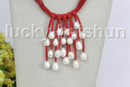 "16"" 5row 13mm Baroque white freshwater pearls red leather necklace j11257"