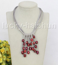 "16"" 5row 13mm Baroque wine red freshwater pearls gray leather necklace j11263"
