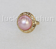 AAA 20mm blister pink South Sea Mabe Pearls Rings silver filled gold 8# j11272