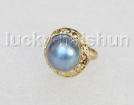 AAA 20mm blister blue South Sea Mabe Pearls Rings silver filled gold 8# j11274