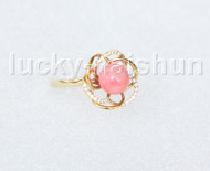 AAA NEW 15mm round pink coral Rings 14K solid gold 8# j11278A818