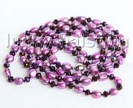 "Baroque 46"" 10mm purple freshwater pearls purple crystal necklace j11295"