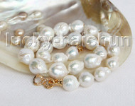"""Baroque 18"""" 17mm white Reborn keshi pearls necklace gold plated clasp j11305"""
