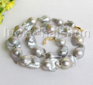 "HUGE 19"" 25mm natural Gray Reborn keshi pearls necklace filled gold clasp j11312"
