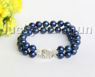 "8"" 10mm 2row round navy blue freshwater pearls bracelet 925 silver clasp j11315"