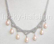 "15-18"" 10mm adjustable drop gem stone pink freshwater pearls necklace 18KGP j11316"
