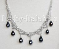 "15""-18"" 10mm adjustable drop gem stone black pearls necklace 18KGP j11317"