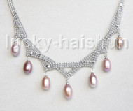 "15""-18"" 10mm adjustable drop gem stone purple freshwater pearls necklace 18KGP j11319"