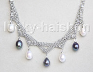 "15-18"" 10mm adjustable drop gem stone white black freshwater pearls necklace 18KGP j11320"