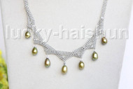 "15-18"" 10mm adjustable drop gem stone green freshwater pearls necklace 18KGP j11322"