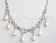 "15""-18"" 10mm adjustable drop gem stone white pink purple pearls necklace 18KGP j11323"