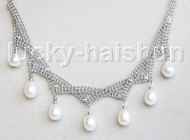 "15-18"" 10mm adjustable drop gem stone white pearls necklace 18KGP j11325"