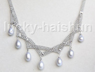 "15-18"" 10mm adjustable drop gem stone gray pearls necklace 18KGP j11326"