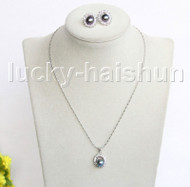 "16"" 16X18mm black freshwater pearls necklace Earrings set 18KGP j11329"