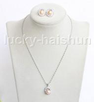 "16"" 16X18mm pink freshwater pearls necklace Earrings set 18KGP j11330"