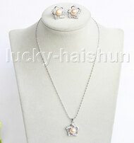 "16"" 20mm pink freshwater pearls necklace Earrings set 18KGP j11332"