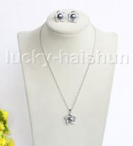 """16"""" 20mm black freshwater pearls necklace Earrings set 18KGP j11333"""